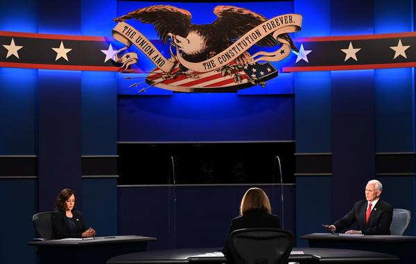 Vice President Pence speaks during the vice presidential debate with Democratic vice presidential nominee Sen. Kamala Harris, D-Calif., at the University of Utah in Salt Lake City on Wednesday.