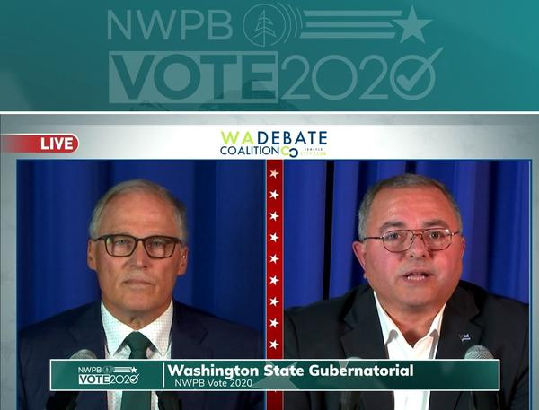 Incumbent Gov. Jay Inslee met with his GOP challenger, Republic Police Chief Loren Culp, on Wednesday, Oct. 7, for a debate sponsored by the Washington State Debate Coalition and broadcast statewide.