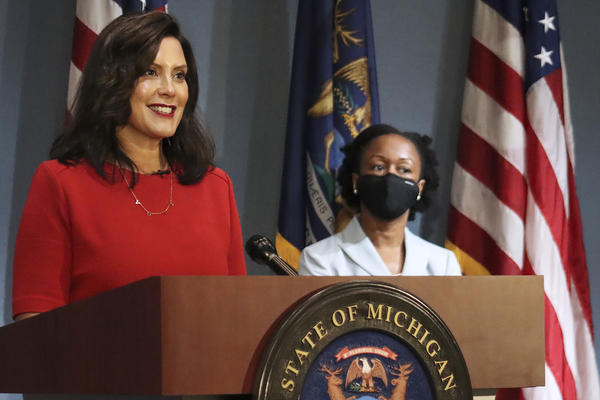 In this photo Sept. 16, 2020 file photo, provided by the Michigan Office of the Governor, Gov. Whitmer addresses the state during a speech in Lansing, Mich.