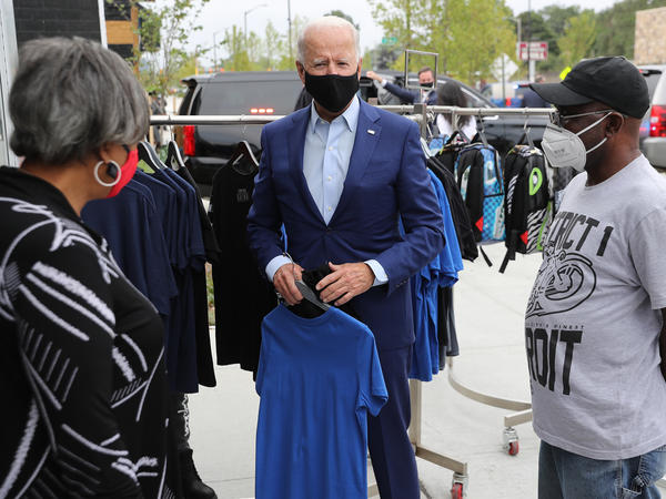 Joe Biden shops at Three Thirteen, a Detroit apparel store on Sept. 9. Biden is hoping Black and brown voters can help propel him to victory in Michigan, a state President Trump narrowly won in 2016.
