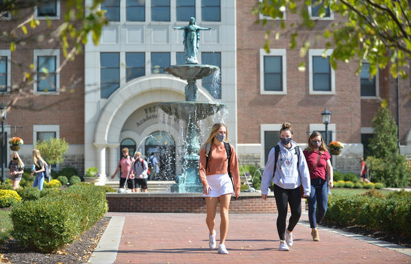 Students at Benedictine College in Atchison, Kansas, switch classes Wednesday (Oct. 7).