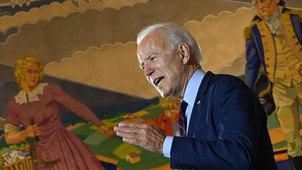 "Democratic presidential nominee Joe Biden, seen here at a campaign event in Cincinnati, Ohio, on Monday, told a local TV station he is ""not a fan"" of court packing."