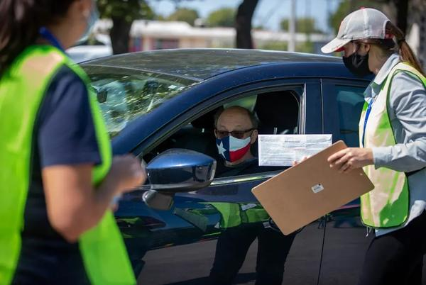 The Travis County Tax Office at 5501 Airport Blvd is now the only drive-thru location open for hand delivery of mail ballots in the county. The drop-off location photographed here on Oct. 2, will be open until Nov. 3
