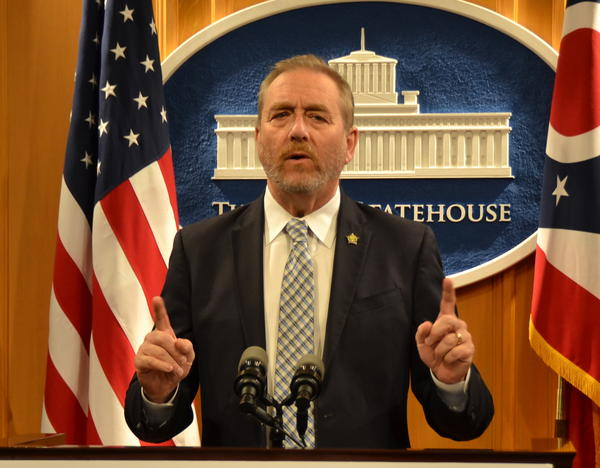 Attorney General Dave Yost speaks at a press conference in October 2019.