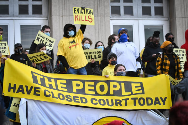 KC Tenants protestors occupy the steps of the west side of the Jackson County Courthouse on Thursday morning to decry eviction hearings in  during the pandemic.