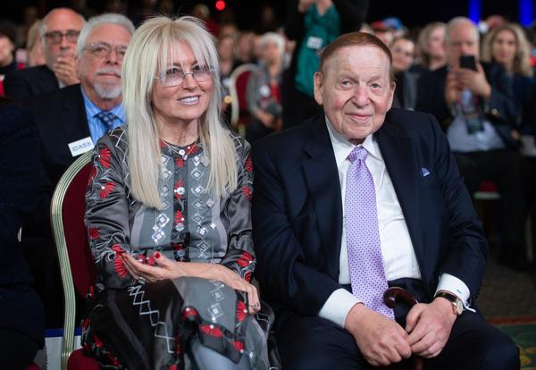 Sheldon Adelson and his wife Miriam at a speech by President Trump during the Republican Jewish Coalition 2019 Annual Leadership Meeting in Las Vegas.