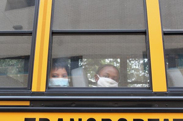 Students arrive at Foundation Preparatory Charter School in Gentilly on Oct. 12, 2020.