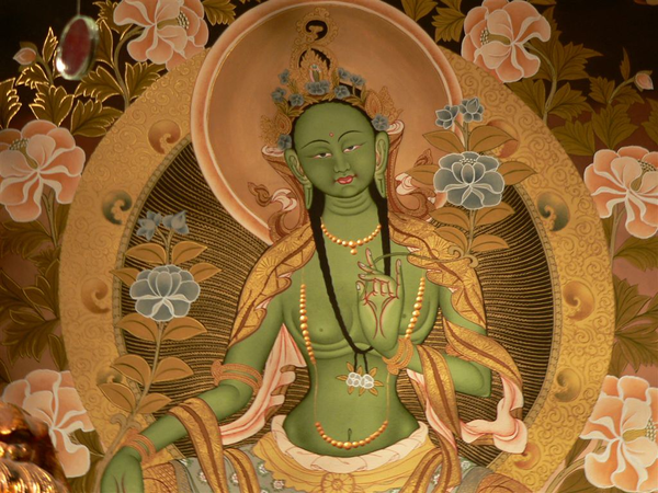 An anthropomorphic depiction of the green emanation of Tara.