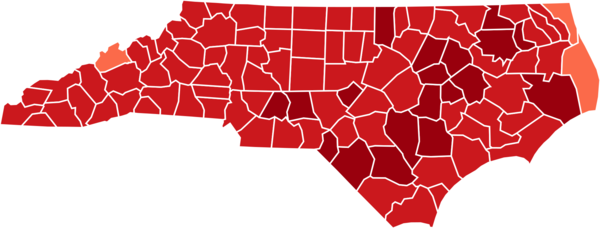 COVID-19 prevalence by county in North Carolina. This map shows confirmed cases of COVID-19 by percentage of population confirmed to be infected as of Oct. 15, 2020.