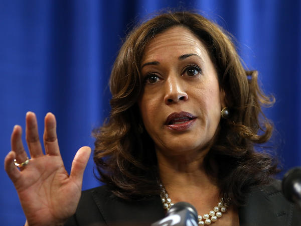 Kamala Harris, then California attorney general, speaks to reporters on July 11, 2012.