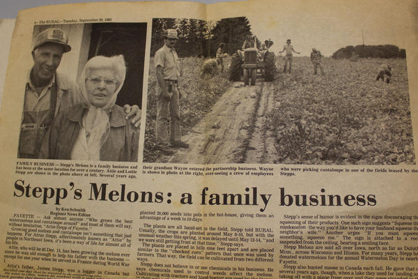 The Stepp family farmed in Fayette County, Iowa, for more than 120 years. This story about the family melon business was published in 1982.