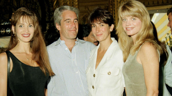Ghislaine Maxwell, seen here at center right with the disgraced late financier Jeffrey Epstein, gave a deposition in 2016 that should be released, an appeals court says. Maxwell is seen here with Epstein and others a party at the Mar-a-Lago club in Palm Beach.