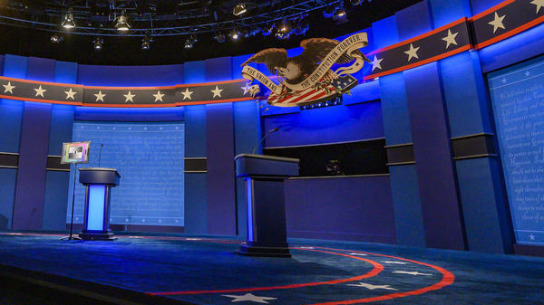 The stage for the final presidential debate of the 2020 election is tested for light and sound at Belmont University in Nashville, Tenn., on Wednesday.