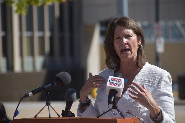 U.S. Rep. Cheri Bustos speaks in the Peoria County Courthouse Veterans Plaza on Oct. 7, 2020.