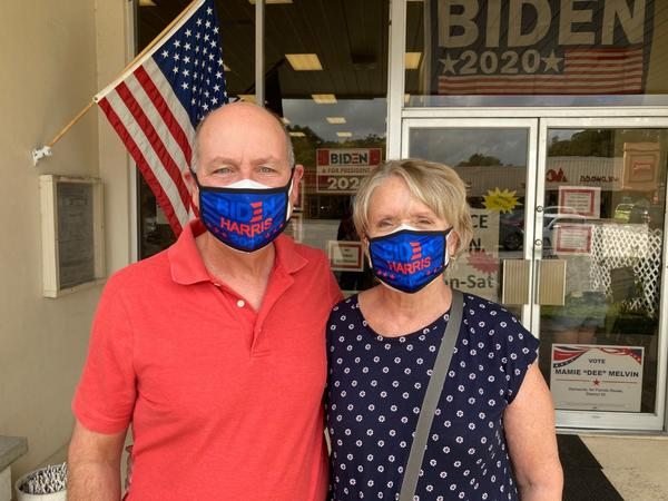 Jerry and Patty Ragen recently moved to The Villages. Here, they stand in front of the Democratic field office in Wildwood.
