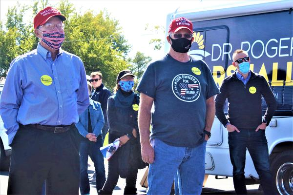 El Dorado resident Hal Neukirch (right) attends an Oct. 3 rally for U.S. Senate candidate Roger Marshall and other Republican candidates.