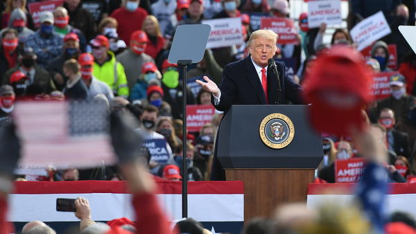 In recent days, President Trump has held a flurry of rallies. Here he is speaking during one in Londonderry, N.H., on Sunday.