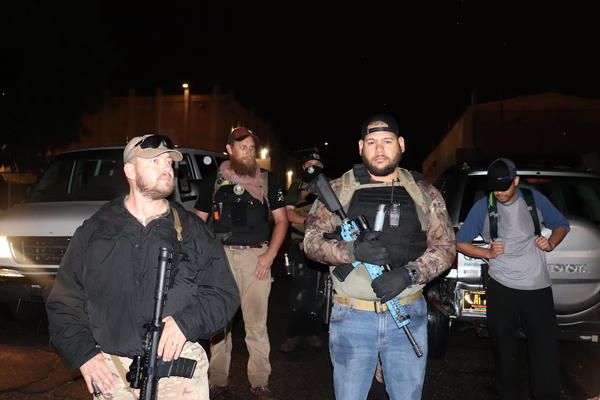 Members of the New Mexico Civil Guard near UNM campus late Monday night, 6/1/20.