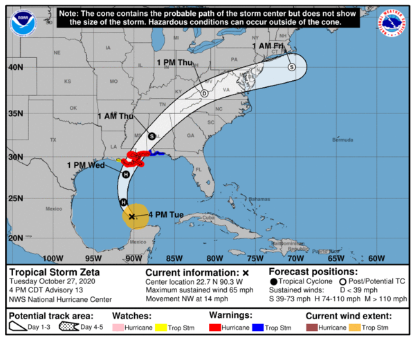 Tropical Storm Zeta is expected to strengthen into a hurricane as it moves over the Gulf of Mexico Tuesday.