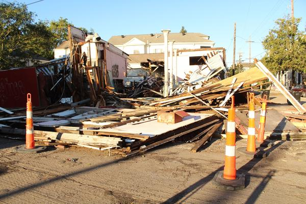 A building on the corner of Dauphine Street and Franklin Avenue flattened by Hurricane Zeta. Oct. 29, 2020.