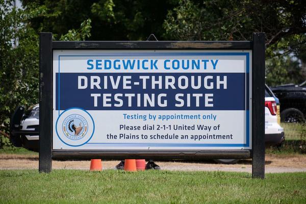 A drive-through coronavirus testing center in Wichita.