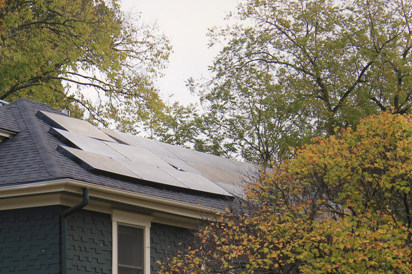 Solar panels on the roof of a home in Lawrence, Kansas.
