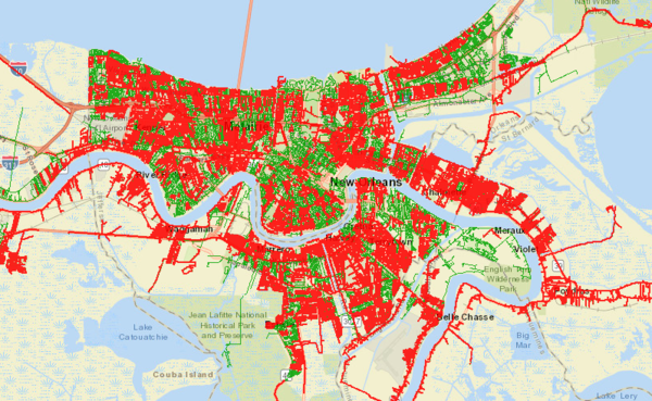 A power outage map provided by Entergy shows power outages in red. Oct. 30, 2020.