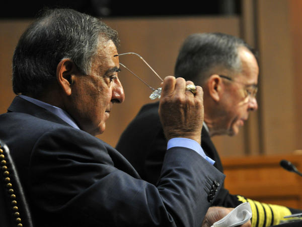 Chairman of the Joint Chiefs of Staff Adm. Mike Mullen (right) and Defense Secretary Leon Panetta testify before the Senate Armed Services Committee on Thursday. The Pentagon is tasked with cutting $450 billion from its budget in the next 10 years.