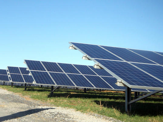 Rows of solar panels at a solar farm in Kings Mountain, N.C.