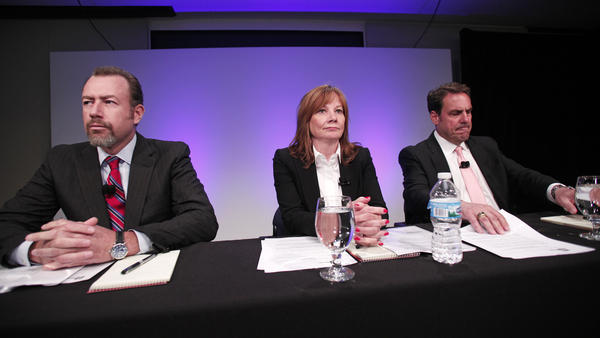 General Motors Chief Executive Officer Mary Barra (center), Executive Vice President Mark Reuss (right) and President Dan Ammann discuss a review of the company's handling of a recall for a deadly ignition switch problem.