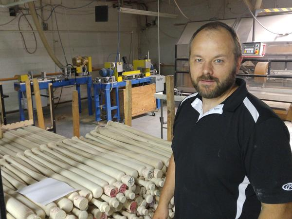 Plant manager Ron Vander Groef says the white ash used to make Rawlings baseball bats could be wiped out by emerald ash borers within the next few years.