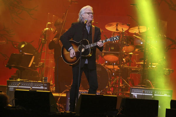 """Artist Ricky Skaggs performs at """"1 Night. 1 Place. 1 Time.: A Heroes and Friends Tribute to Randy Travis"""" at Bridgestone Arena on Wednesday, February 8, 2017 in Nashville, Tenn. (Photo by Laura Roberts/Invision/AP)"""