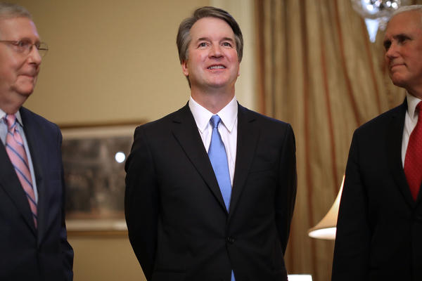 Senate Majority Leader Mitch McConnell (from left), Supreme Court nominee Brett Kavanaugh and Vice President Pence met on Capitol Hill Tuesday, ahead of meetings with Republican senators. Democrats vow to challenge Kavanaugh's nomination in upcoming hearings.