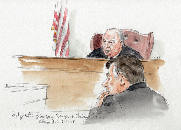 Judge T.S. Ellis III gives jury instructions in front of tax fraud defendant Paul Manafort on Tuesday.