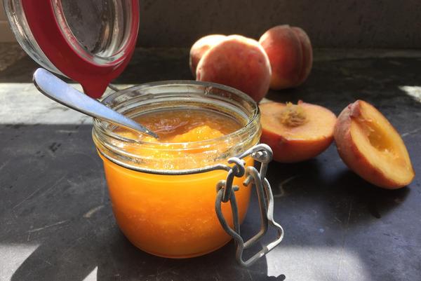 Chef Kathy Gunst's summer peach jam. (Kathy Gunst for Here & Now)