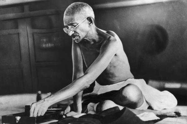 Indian spiritual and political leader Mohandas Gandhi circa 1935.