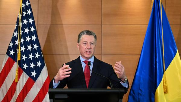Then-U.S. special envoy for Ukraine Kurt Volker speaks during a news conference in Kyiv on July 27. Volker is being deposed on Thursday as part of the House impeachment inquiry.