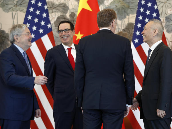 U.S. Ambassador to China Terry Branstad, left, with U.S. Treasury Secretary Steven Mnuchin, U.S. Trade Representative Robert Lighthizer, and Chinese Vice Premier Liu He, right, after concluding a meeting at the Diaoyutai State Guesthouse in Beijing, in May.