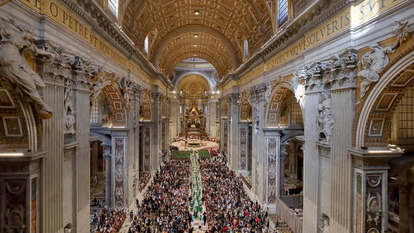 Pope Francis and cardinals arrive at St. Peter's Basilica for the opening mass of the Amazon Synod on Oct. 6, 2019 in Vatican City.