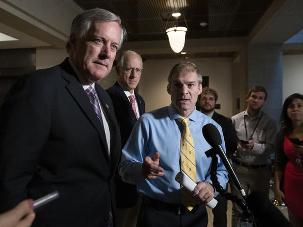 Rep. Mark Meadows, R-N.C. (left), and Rep. Jim Jordan, R-Ohio (right), are two of the most vocal defenders of President Trump in the impeachment inquiry. They are at the top of the list for possible temporary appointments to the House Intelligence Committee, whose lineup could be changed by House Minority Leader Kevin McCarthy, R-Calif.