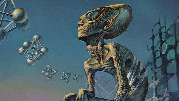 Blood Incantation's<em> Hidden History of the Human Race</em> features artwork by science fiction and fantasy painter Bruce Pennington.