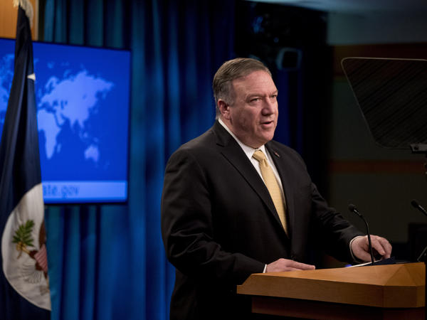 Secretary of State Mike Pompeo speaks Monday during a news conference at the State Department, where he announced the administration will rescind a 1978 department legal opinion that viewed settlements in the Israeli-occupied West Bank as inconsistent with international law.