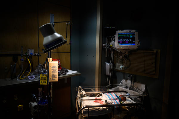 An infant is monitored for opioid withdrawal in a neonatal intensive care unit at the CAMC Women and Children's Hospital in Charleston, W.Va., in June. Infants exposed to opioids in utero often experience symptoms of withdrawal.