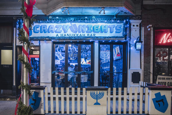Façade of Chicago's first and only Hanukkah-themed pop-up bar in Wrigleyville.