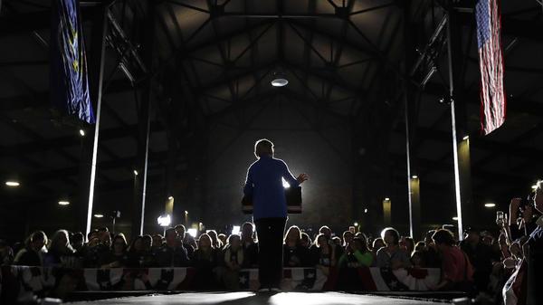 Democratic presidential candidate Sen. Elizabeth Warren, D-Mass., speaks at a rally Tuesday in Detroit.