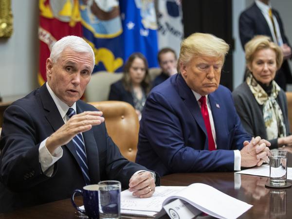 Vice President Mike Pence talks with airline CEOs about coronovirus as President Trump and White House coronavirus response coordinator Dr. Deborah Birx listen.