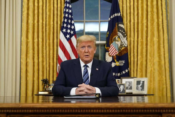 President Trump announced a travel ban on Europe amid the coronavirus pandemic during remarks issued from the Oval Office on Wednesday night.