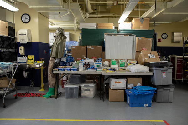 "MedStar Washington Hospital Center's ""ready room"" in Washington, D.C., has mostly been used to house emergency supplies — but some storage carts have been moved out to make way for patient assessment stations."