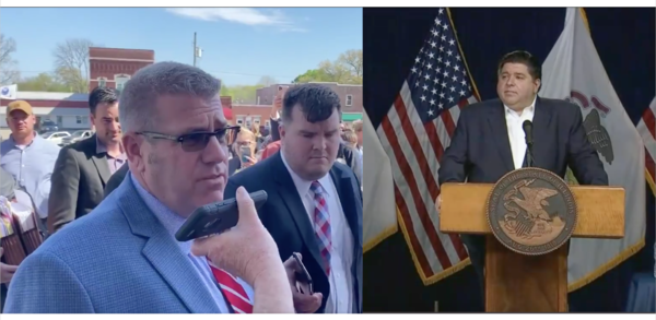 At left, Rep. Darren Bailey addresses media outside a Clay County courthouse. At right, Gov. J.B. Pritzker addresses the lawsuit during a daily press briefing.