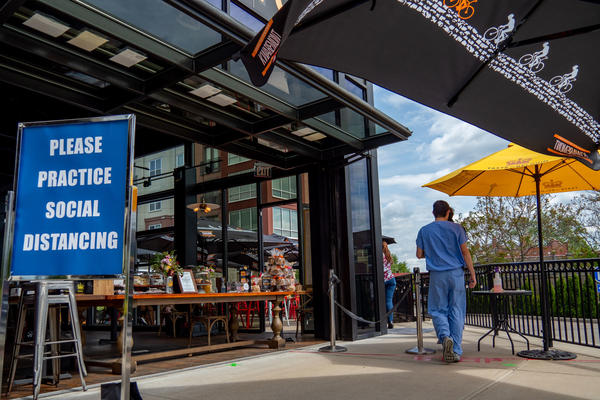 A restaurant in Ohio, Taste of Belgium, seats customers outside as businesses begin to reopen in the wake of the coronavirus pandemic on Friday.